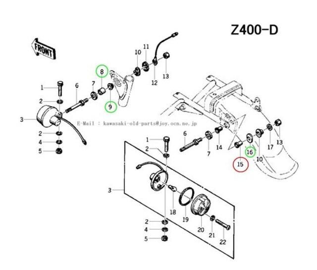 カワサキ Z200 Z400 Z400ツイン リアウィンカーマウント・カラー < 自動車/バイク