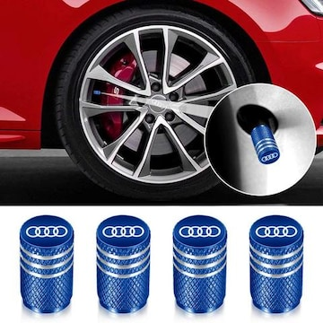 Audi バルブキャップ4個組 (ブルー)