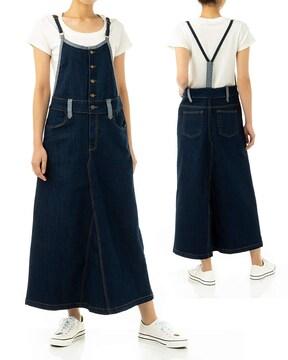 デニム マキシ丈 スカート サロペット (4L)