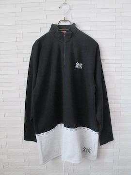 即決/XAX/ジップアッププルオーバースウェットカットソー/黒/L