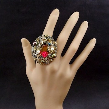 新品ゴスロリ姫系アンティーク調薔薇ストーンリング指輪