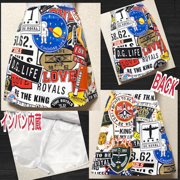 【新品】派手カワ☆インパン内蔵☆ロゴマーク柄ミニスカ