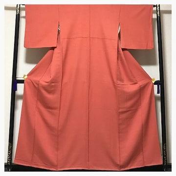 美品 未使用 極上 逸品 上質 正絹 色無地 紋無し 赤ピンク 中