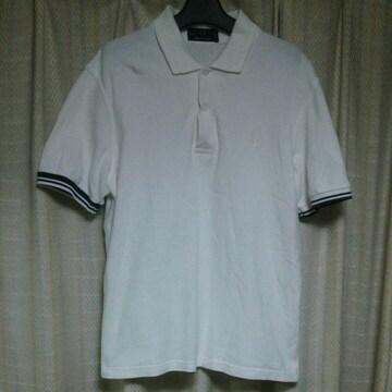 フレッドペリーFREDPERRYワンポイントロゴ半袖ポロシャツサイズ38白イギリス製インポート