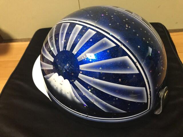 星型ラメ 富士日章 コルク半 ヘルメット 三段シート 軽スロ 風防 < 自動車/バイク