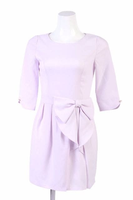 ミシェルマカロン☆シェリーりぼんワンピ☆ピンクラベンダー☆M☆新品 < ブランドの
