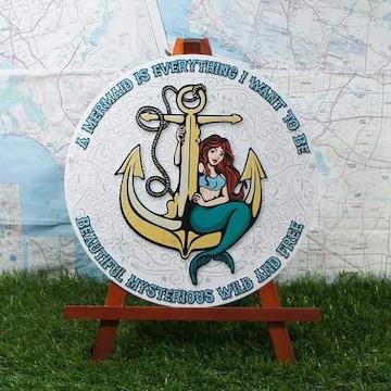 新品【ブリキ看板】Mermaid/マーメイド 丸型