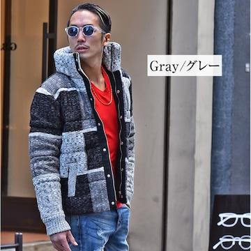 パッチワークデザイン中綿ジャケット新品グレーXL