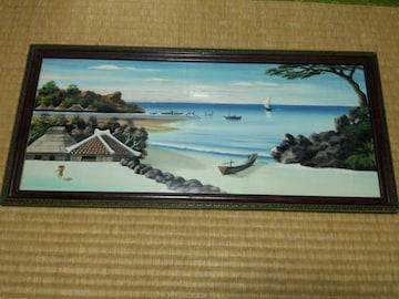大昔の沖縄の海辺の風景 古民家