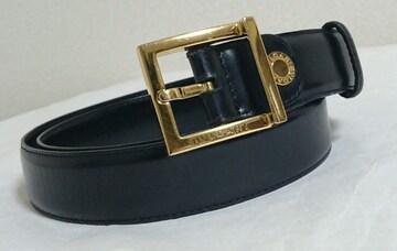 正規良レア BVLGARIブルガリ ゴールドスクエアバックルベルト 金×黒 90 調節可