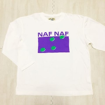 【NEW】オーバーサイズ丸首長袖Tシャツ/NAFNAF/白/カジュアル