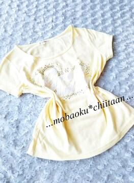 。*・◆ストーン付き〃パステルイエロー〃Tシャツ〃可愛◆・*。