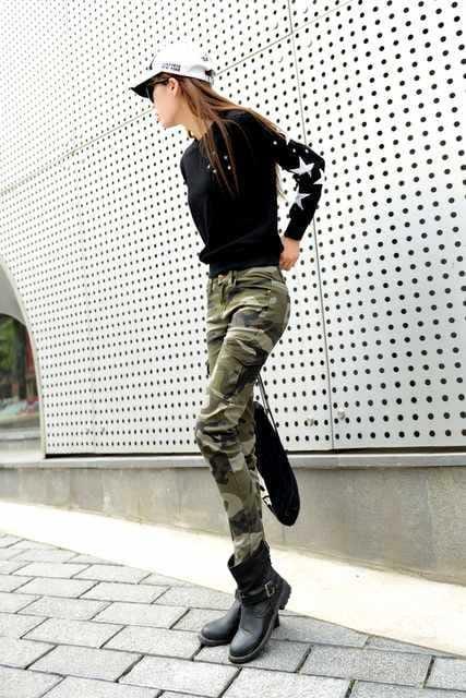 カーゴタイプ★スキニー★ストレッチ迷彩パンツ(28インチ) < 女性ファッションの