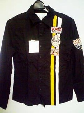 Aー508☆新品☆長袖ワッペン付きカジュアルシャツ 黒M