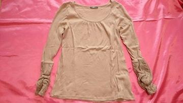 グレイッシュピンク袖口ニット可愛い綿コットン丸首長袖Tシャツ