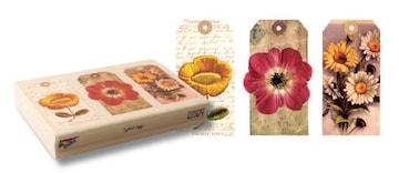 海外中古輸入お花のコラージュタグウッドマウントラバースタンプ