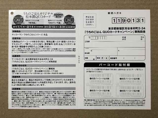 嵐 松潤◆うちのごはん QUOカード キャンペーン フライヤー5枚 < タレントグッズの