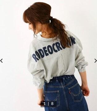 ロデオ★バックロゴ ストライプ ビッグ シャツ 2