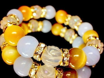 薔薇彫りローズクォーツ§ブルーレース§ゴールデンタイガーアイ10ミリ金ロンデル数珠