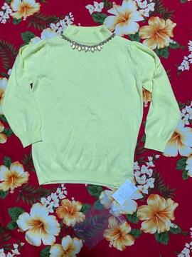 新品未使用☆clear☆綺麗なイエローカラー7分袖セーター☆