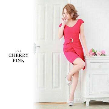 ジュエルズ/チェリーピンクLサイズ/ノースリーブドレープ風ワンピースドレス