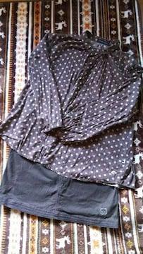 ドラッグストアーズ 水玉シャツ&ブラウンひざ丈スカートセット