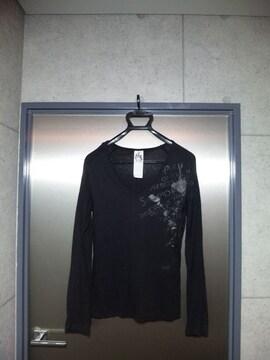 美品〓トルネードマート〓長袖プリント入カットソー〓黒〓