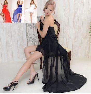 胸元ビジュー花モチーフ テールカットロングドレス ワンピース キャバ