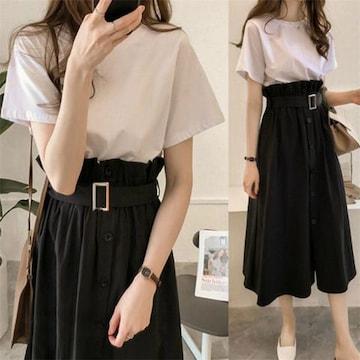 セットアップ  ロングスカート + 半袖 Tシャツ (M寸・黒)