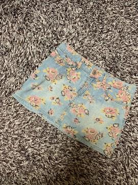 レディースデニム花柄ミニスカート  SS(150  )