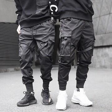【ブラック/Mサイズ】カーゴパンツ ベイカーパンツ メンズ
