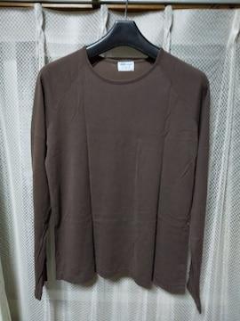 サンスペル 無地 長袖Tシャツ インナー カットソー Mサイズ S 茶 ブラウン 英国製 ロンT