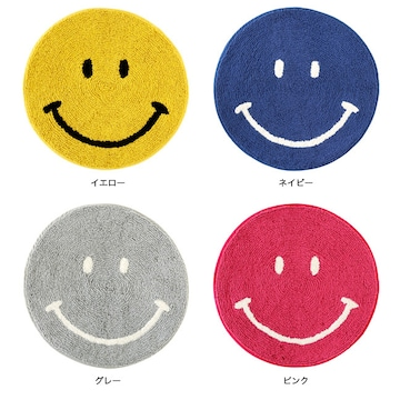 ラウンドマット スマイル ニコニコ笑顔 円形マット インテリア