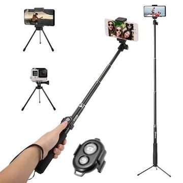 自撮り棒 軽量 シャッターボタン 三脚付 360度回転 ブラック