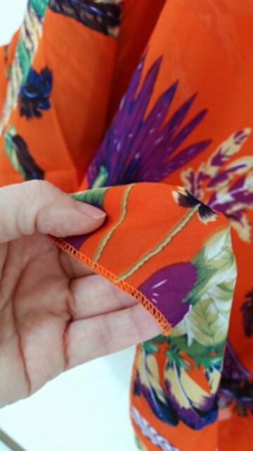 新品[7954]4L〜6L(大きいサイズ)オレンジ柄シフォンドルマンシャツ < 女性ファッションの