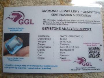 ◆天然宝石(ルース)裸石◆ 青いトパーズ◆56.00ct/GGL証明書35