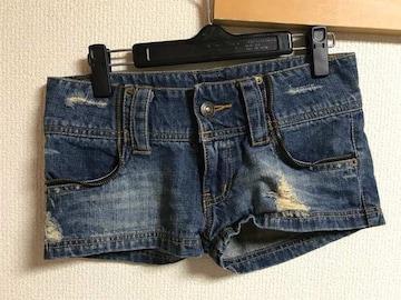 ★ファスナーデザイン×クラッシュ デニムショートパンツ  S★