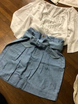 【dazzlin】フリルハイウエストタイトリボンスカートS極美品
