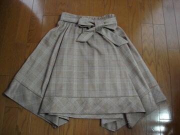 ★クイーンズコート 大人かわいい裾デザインスカート★リボン付