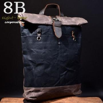 ◆牛本革×撥水帆布 ウォッシュ加工 口折れバックパック◆黒b12