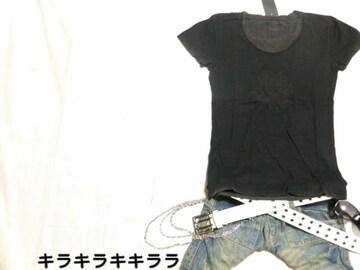 ●MIDAS●ロアナプラ★レイヤード.薔薇デザイン*クールネックTeeシャツブラックL
