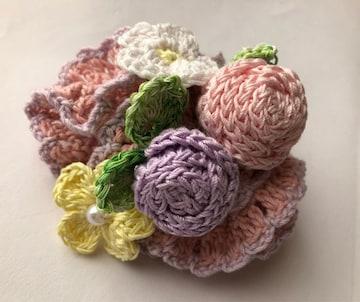 ハンドメイド ボリューム シュシュ 巻き巻き薔薇とパステルお花