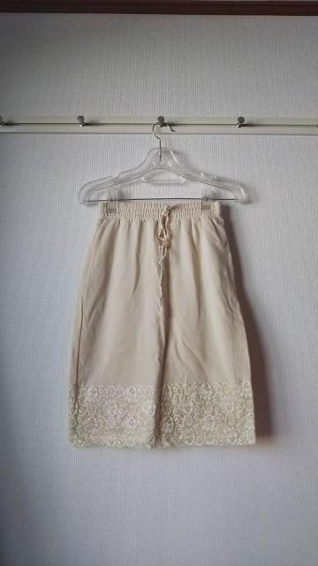 スウェット地ペチスカート、裾レース  < 女性ファッションの
