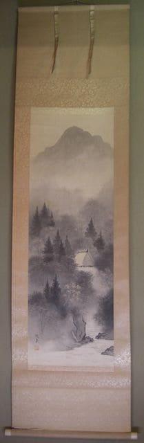 アンテイックコレクション:山水画 掛軸、賜泉作/中古品  < ホビーの