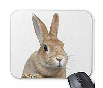 ちょい横向きのウサギの顔のマウスパッド (1匹)