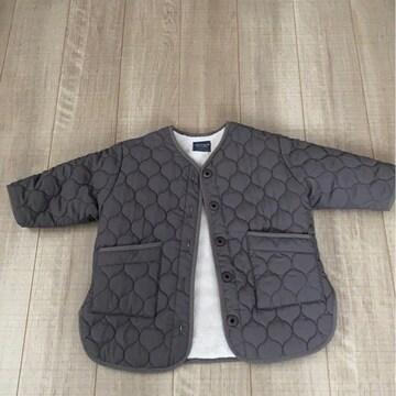 韓国子供服暖か裏起毛コートS男女OK今季美品