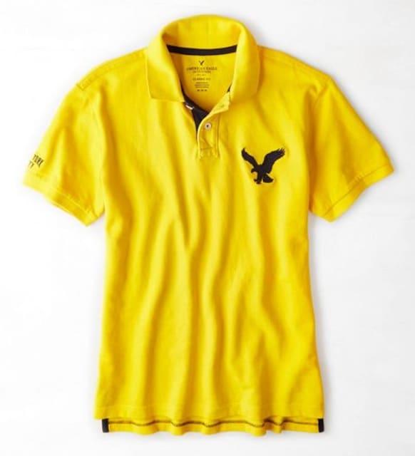 【American Eagle】ビッグイーグルロゴ AEOポロシャツ XL/Yellow  < ブランドの