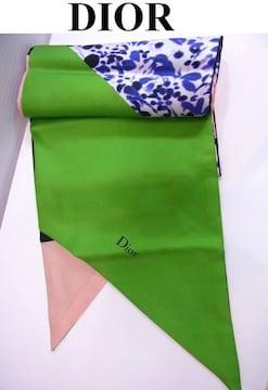 送無 DIOR ディオール シルク100% リバーシブル 縦長 スカーフ 未使用★dot