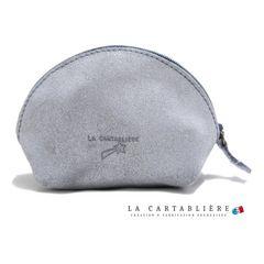 LA CARTABLIEREフランス製きらきらスエード 半円ポーチ#Mク