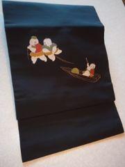 黒/キモカワ童子柄付帯正絹二部式美品レタR